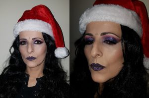 purple violet glitter makeup evening party special occassion make up