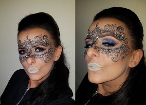 Masquerade carnival lace silver navy blue glitter makeup plus silver lips