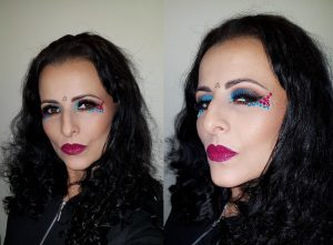 festival makeup, blue brown glitter germs makeup