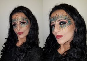 colorful glitter carnival festival masquerade mask makeup, bottle green black smokey eyes
