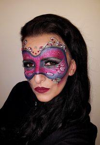 fuchsia purple carnival masquerade mask makeup