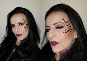 Valentine's Day makeup idea, hearts, matte burgundy lips