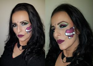 heart with banner Valentine's Day makeup idea, glitter fuchsia green eyes burgundy lips
