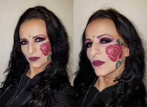 rose face painting black fuchsia smokey eyes makeup