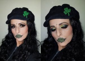 irish celtic lips green shimmer glitter eyes