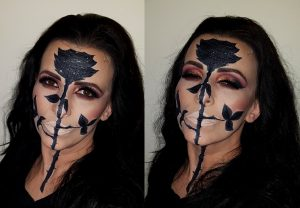 black rose face painting cat eye makeup