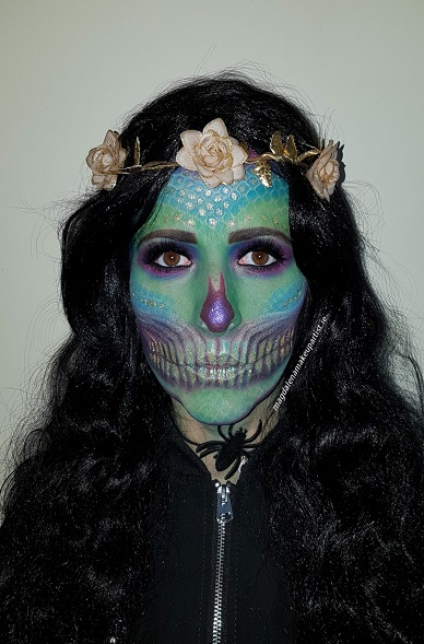 mermaid skull Halloween makeup